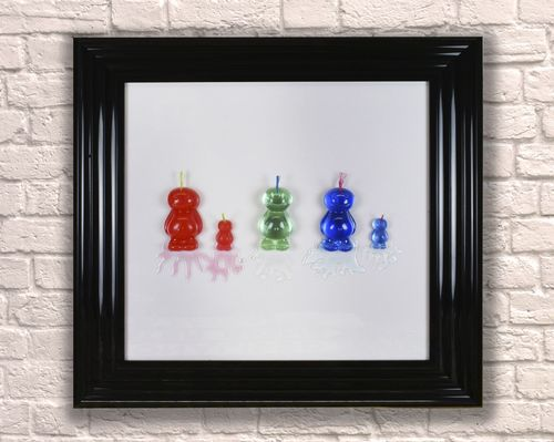 Large Mohican Jelly Babies Black 65cm Frame 3D Artwork